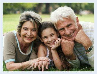 Photo of child and grandparents